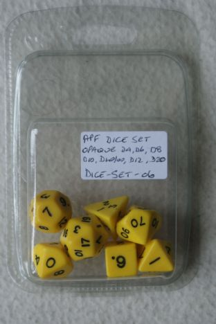 APF DICE-SET-06 (D4, D6, D8, D10, D10/00, D12 & D20) Opaque Poly Dice Set Yellow with Black Numbers